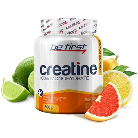 Be First Creatine 100 % monogydrate 300 g. (яблоко)